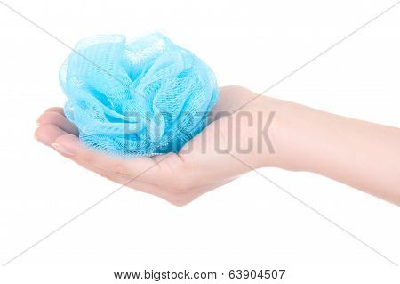 Blue Wisp In Woman Hand Isolated On White