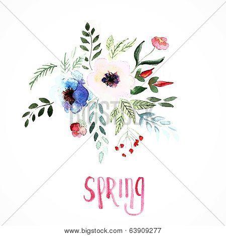 Beautiful flowers, Watercolor painting