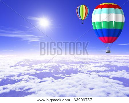 Balloons Are In The Sunny Sky.