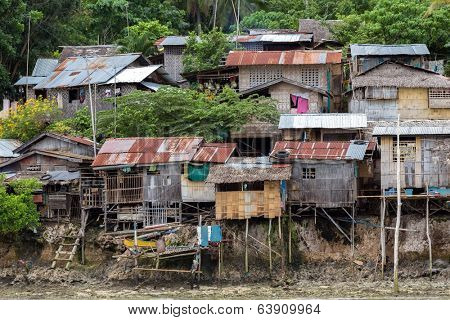 Shanty wooden homes in Kalikud island, Philippines