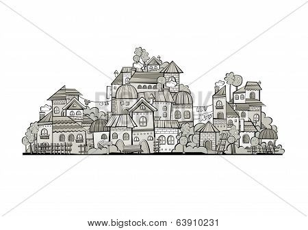 cartoon grayscale vector construction town