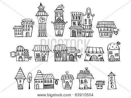 Cartoon vector fairy tale drawing houses.