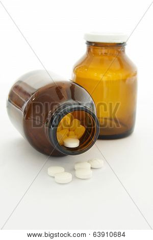 Drug In Vial On White Background