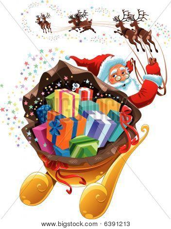 Santa Claus mit Geschenk