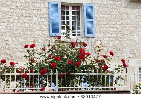 The romantic window with red roses flowers
