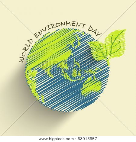 World Environment Day concept with beautiful illustration of mother earth globe and stylish text on abstract background.
