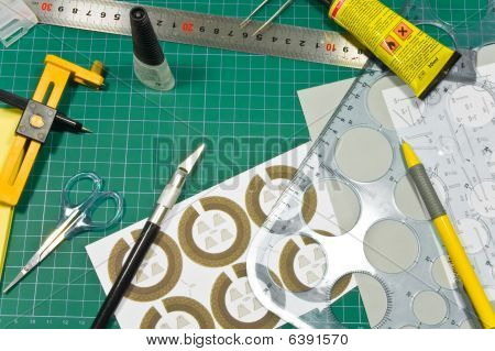 Different Cutting And Gluing Hobby Tools Still Life.
