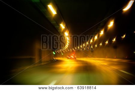 Abstract Car In Yellow Tunnel