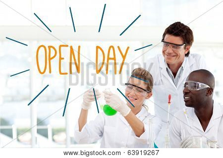 The word open day against scientists working in laboratory