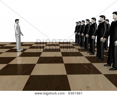 Businessmen abstract chess game