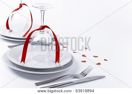 Festive Table Set With Glasses With Hearts On White Background Horizontal Red