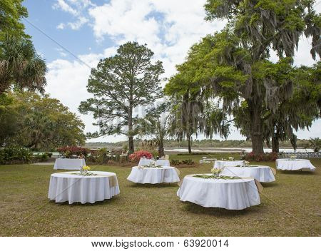 outdoor setup for wedding reception under trees