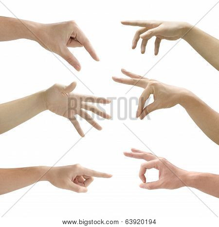 Set Of Gesturing Hands Isolated On White Background