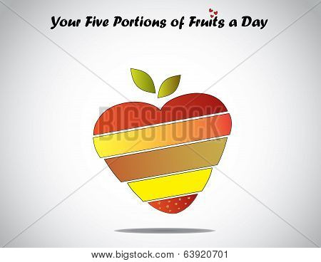 Eat five Different Colorful Fruits Daily Love Healthy Life Concept