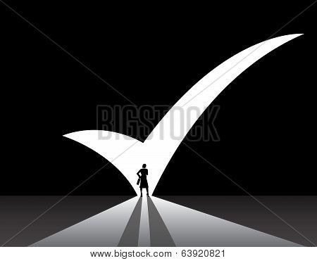 Business Woman Stand Front Of Big Right Tick Mark Shape Door