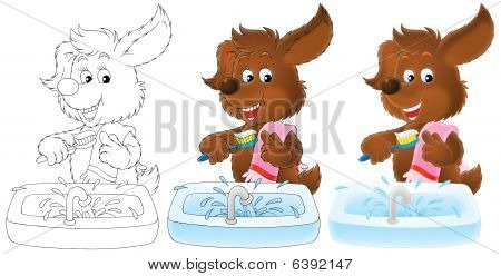 Brown puppy brushes the teeth