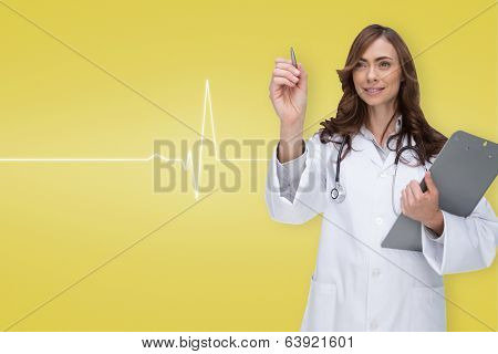 Smiling doctor pointing against medical background with ecg line in yellow