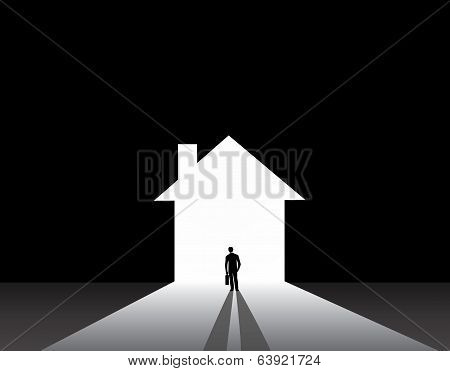 Businessman Silhouette Standing Front Of House Home Shape Door