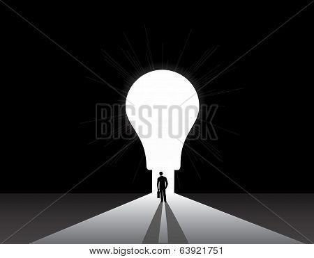 Businessman Silhouette Standing Front Of Big Idea Lightbulb Door