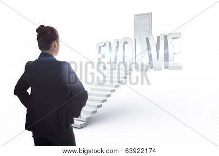 The word evolve and businesswoman with hands on hips against white steps leading to closed door