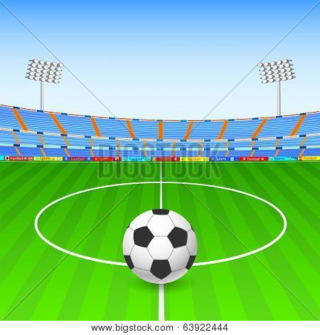 Soccer ball on stadium