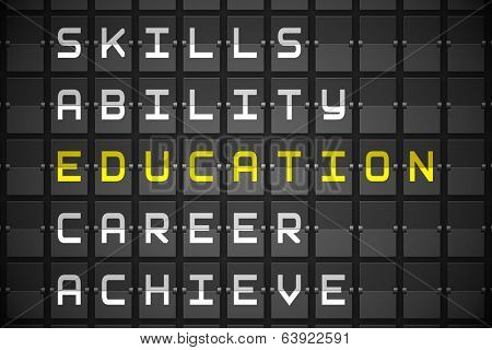 Education buzzwords on digitally generated black mechanical board