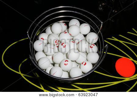 NEW YORK-APR 24: Shutterstock ping pong balls at the Filmmaker Industry Party at Spin during the 2014 Tribeca Film Festival on April 24, 2013 in New York City.