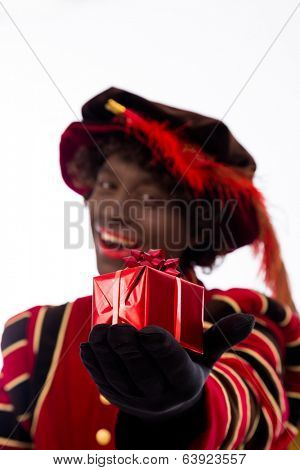 smiling zwarte piet ( black pete)  with gift . typical Dutch character part of a traditional event celebrating the birthday of Sinterklaas (Santa Claus) in december