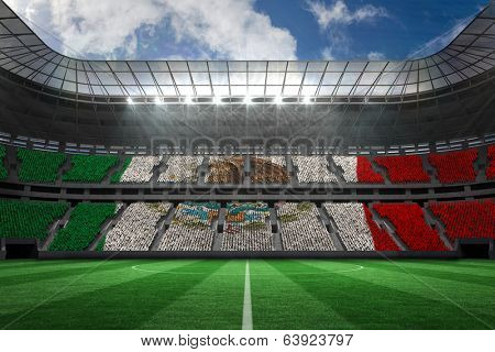 Digitally generated mexican national flag against large football stadium