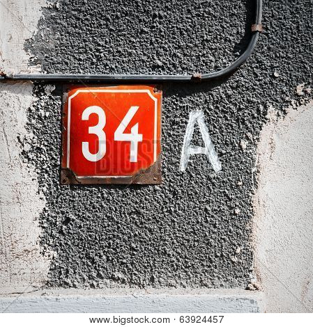 Number 34 A On A Wall