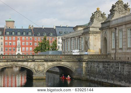 COPENHAGEN, DENMARK-CIRCA July 2013: Hayaking along Christiansborg Palace Marble Bridge & Pavilions