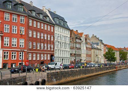 COPENHAGEN, DENMARK-CIRCA July 2013:Colourful Façades along Nyhavn