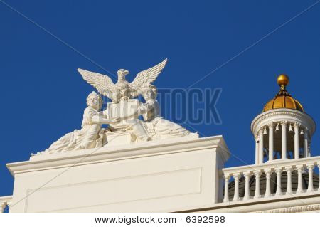California State Capitol Women Sculpture With Gold Dome
