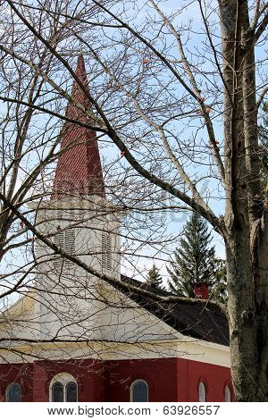 Red steepled church