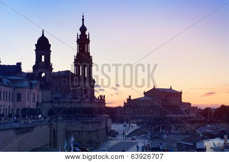 Semperoper and Dresden Cathedral at sundown