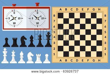 Set of Chess  flat illustration