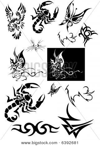 Butterfly, bird and scorpion tattoo designs