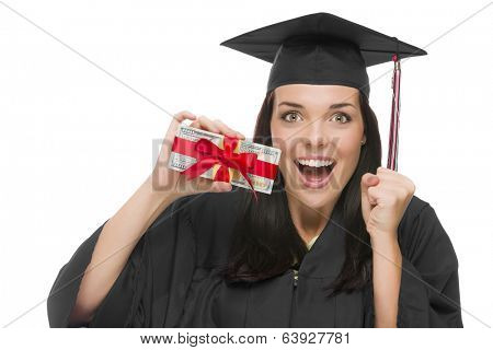 Happy Female Graduate in Cap and Gown Holding Stack of Gift Wrapped Hundred Dollar Bills Isolated on a White Background.