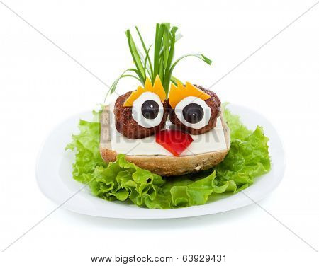 Meatball eyed onion haired creative sandwich - funny food