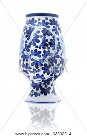 Inverted Chinese Porcelain Vase On White Background