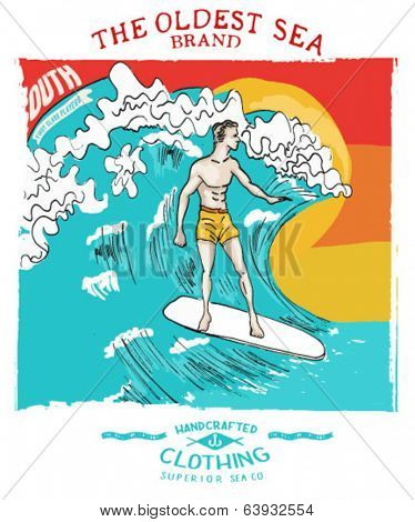 Surfing illustration handmade drawing