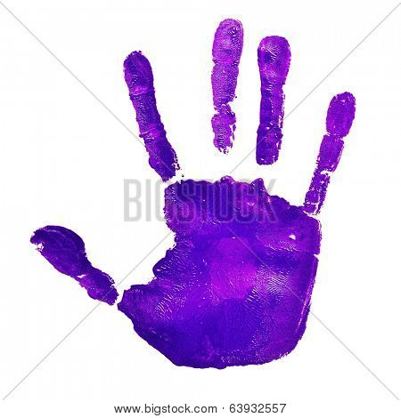 a violet handprint on a white background, depicting the idea of to stop violence against women, as violet is used by the feminist movement