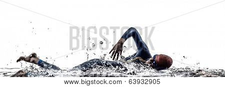 man triathlon iron man athlete swimmers swimming in silhouettes on white background