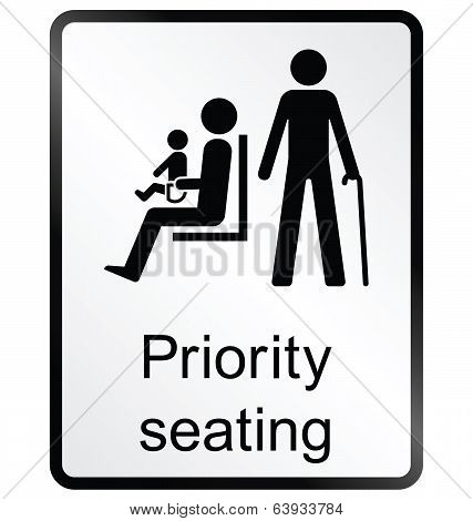 Priority seating Information Sign