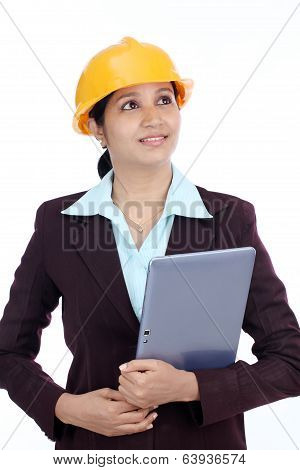 Young Indian Female Engineer With Tablet