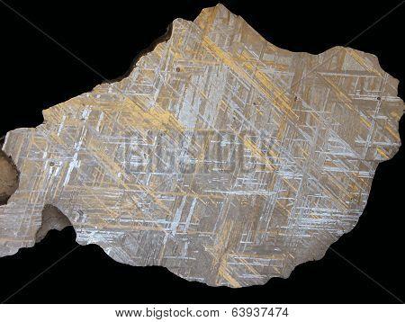 Crystallized extraterrestrial iron - Muonionalusta achondritic meteorite with Widmanstätten pattern