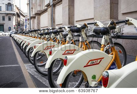 City bikes in Milan, Italy