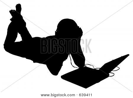 Silhouette With Clipping Path Of Woman With Laptop And Headphone