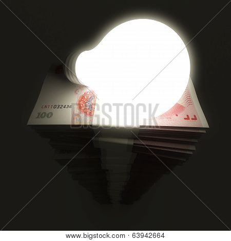 Renminbi stack with shiny light bulb