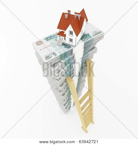 Roubles stack with ladder and house